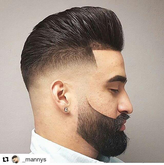 Bald-Fade-med-Beard-og-Pompadour
