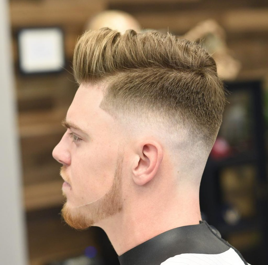 Medium Pompadour Haircut Fade